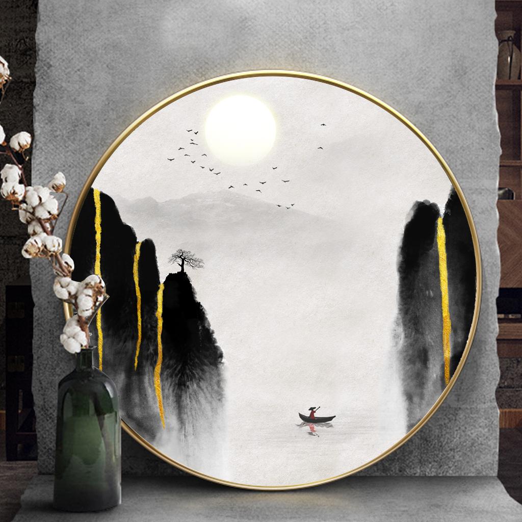 Tranh tròn, dãy núi và cây trừu tượng
