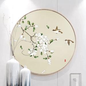 Tranh tròn, tranh cành hoa và đôi chim