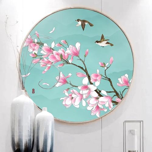 Tranh tròn, cành hoa nở và đôi chim