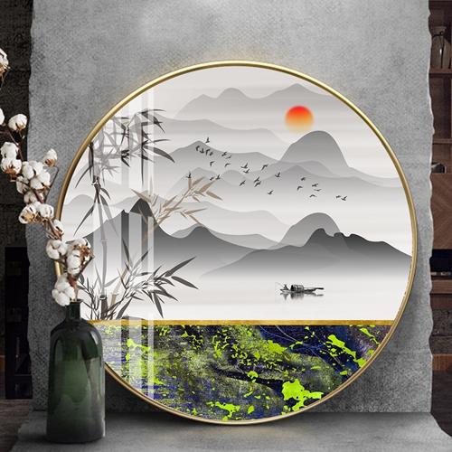 Tranh tròn, tranh sơn thủy dãy núi