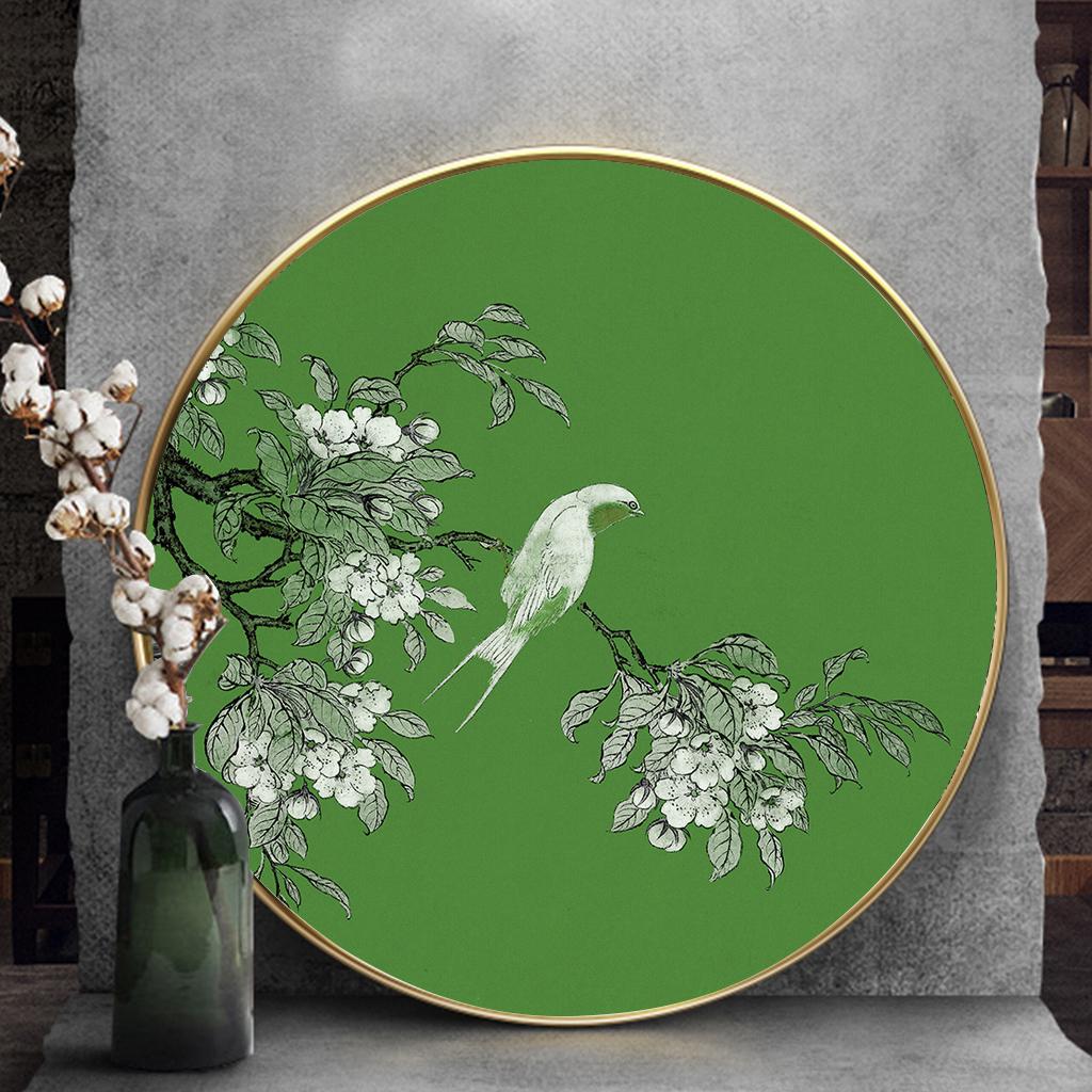 Tranh tròn, con chim đậu trên cành hoa trắng