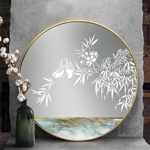 Tranh tròn, đôi chim đậu trên cành hoa lá trắng