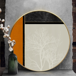 Tranh tròn, cây trắng trừu tượng