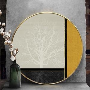 Tranh tròn, cây màu trắng trừu tượng treo tường
