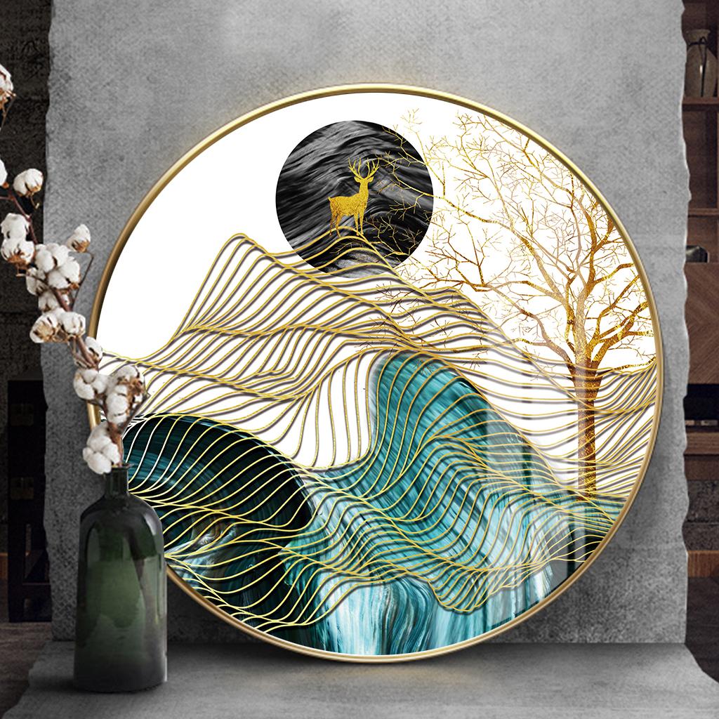Tranh tròn, cây vàng, hươu, dải vân trừu tượng
