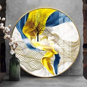 Tranh tròn, đôi hươu vàng và dải vân sắc màu