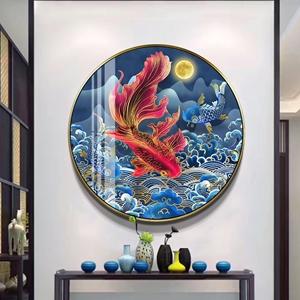 Tranh tròn, đôi cá chép sắc màu