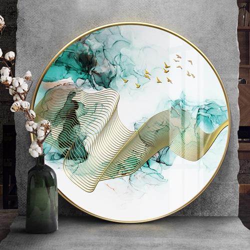 Tranh tròn, trừu tượng dải vân vàng kim và đàn chim