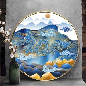 Tranh tròn, con rồng vàng trừu tượng