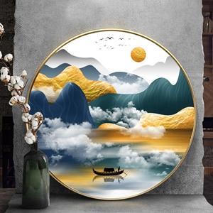Tranh tròn, sơn thủy hữu tình dãy núi