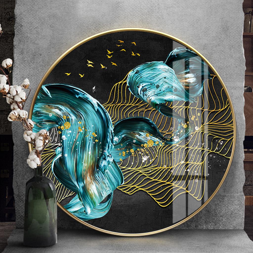 Tranh tròn, treo tường trừu tượng dải vân đàn chim vàng