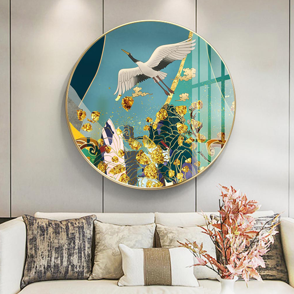Tranh tròn, con chim bay treo tường đẹp