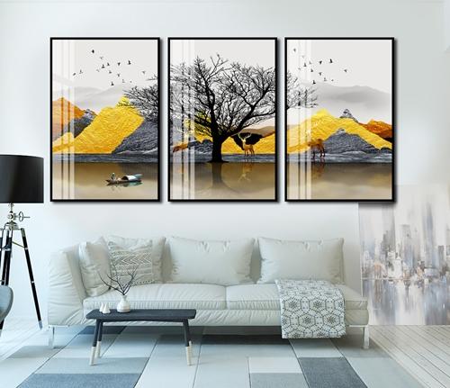 Tranh bộ 3 trừu tượng cây và dãy núi vàng