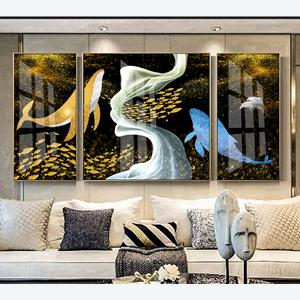 Bộ 3 tranh trừu tượng cá voi cùng đàn cá vàng