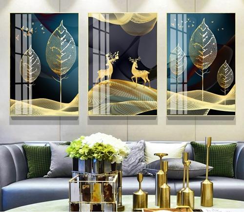 Bộ 3 tranh hươu và lá nghệ thuật trừu tượng
