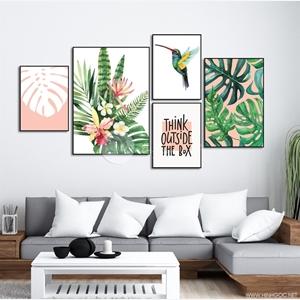 Tranh hoa lá, bộ 5 bức lá rùa và chim ong