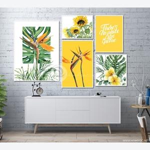 Tranh bộ 5 bức hoa lá, trang trí tường