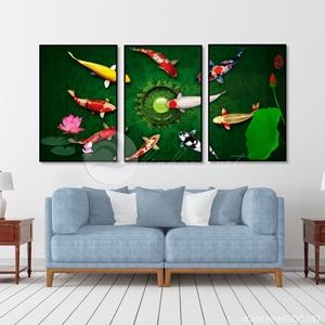 Tranh cửu ngư quần hội, cá chép và hoa sen