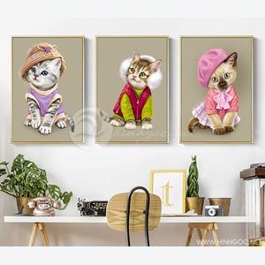 Tranh phòng ngủ cho bé, bộ 3 bức con mèo dễ thương