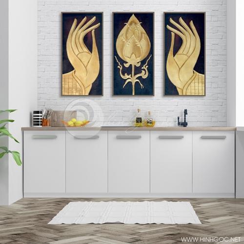 Tranh phật giáo, bộ 3 bức bàn tay phật và hoa sen