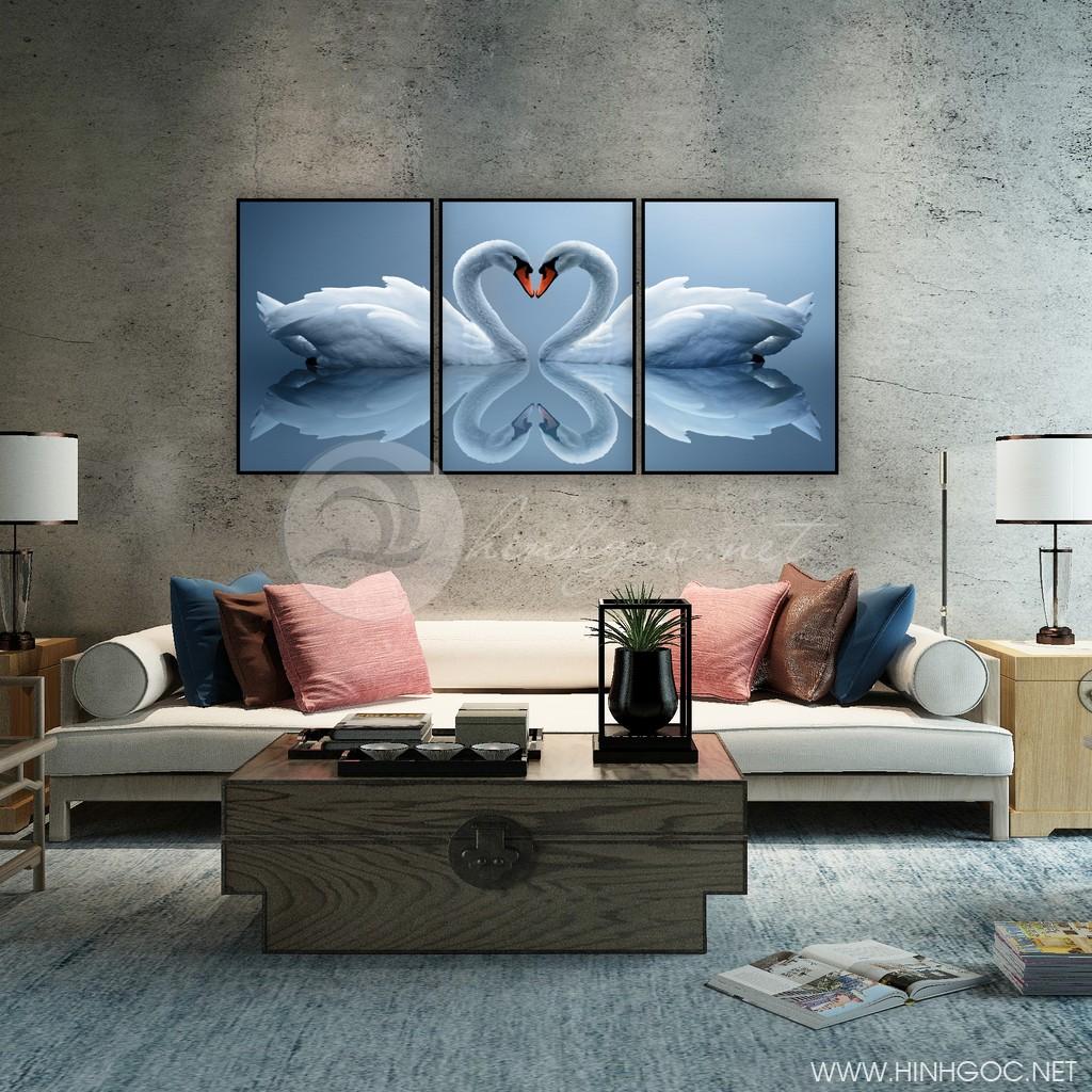 Tranh treo tường, bộ 3 bức đôi chim thiên nga hạnh phúc