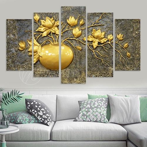 Bình hoa sen vàng đồng