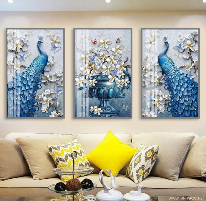 Tranh bộ 3 bức bình hoa và chim công xanh