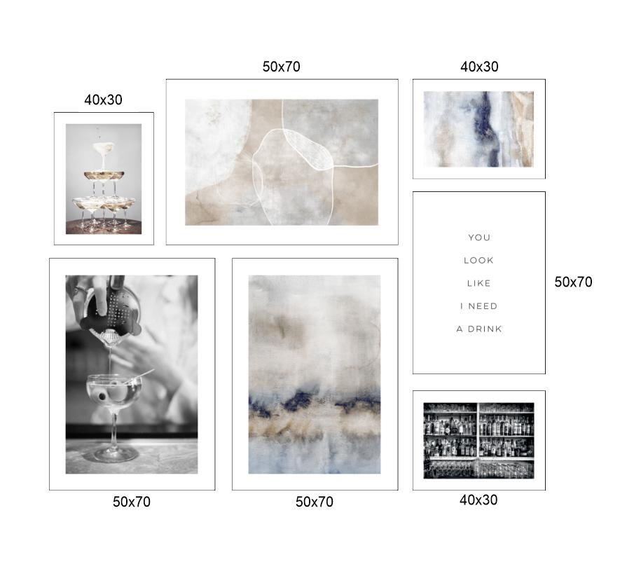 Tranh bộ 7 bức, trừu tượng và những chiếc ly nghệ thuật