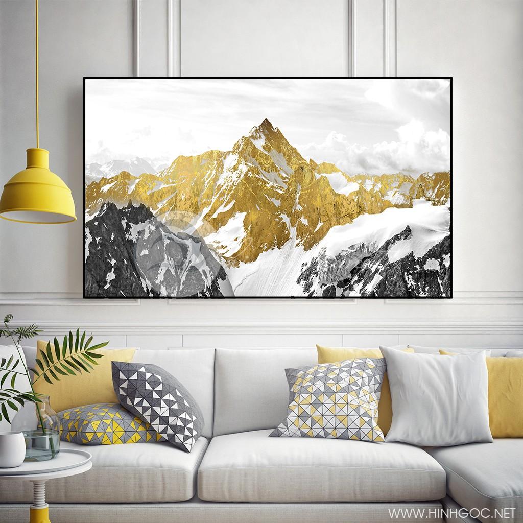 Tranh treo tường, hòn núi vàng ấn tượng