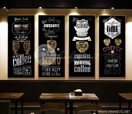 Tranh tứ quý, bộ 4 bức tranh trí quán cà phê