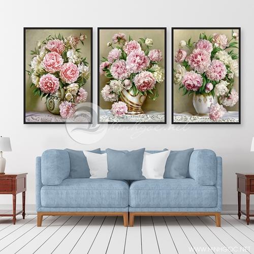 Tranh lọ hoa, bộ 3 bức hoa đẹp