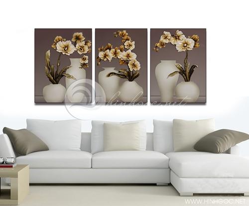 Tranh lọ hoa, bộ 3 bức hoa lan giả ngọc 3D