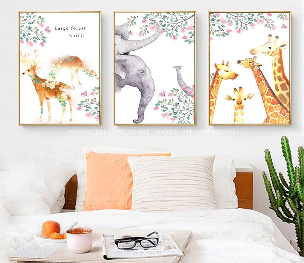 Tranh bộ 3 bức, con hươu và voi