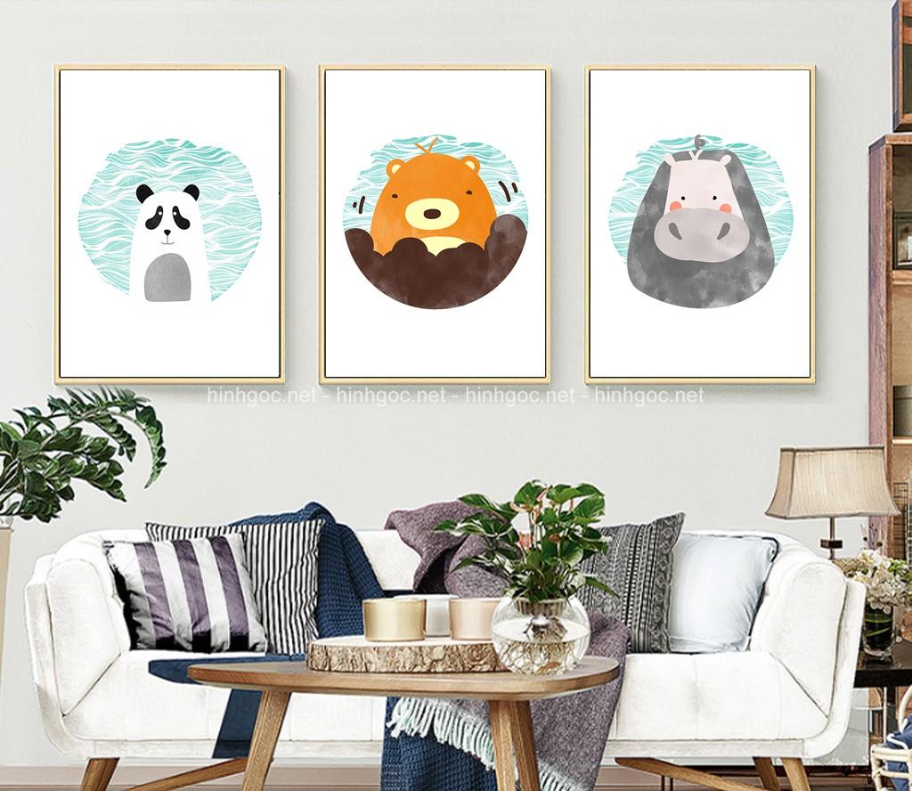 Tranh phòng ngủ cho bé, bộ 3 bức con gấu đẹp