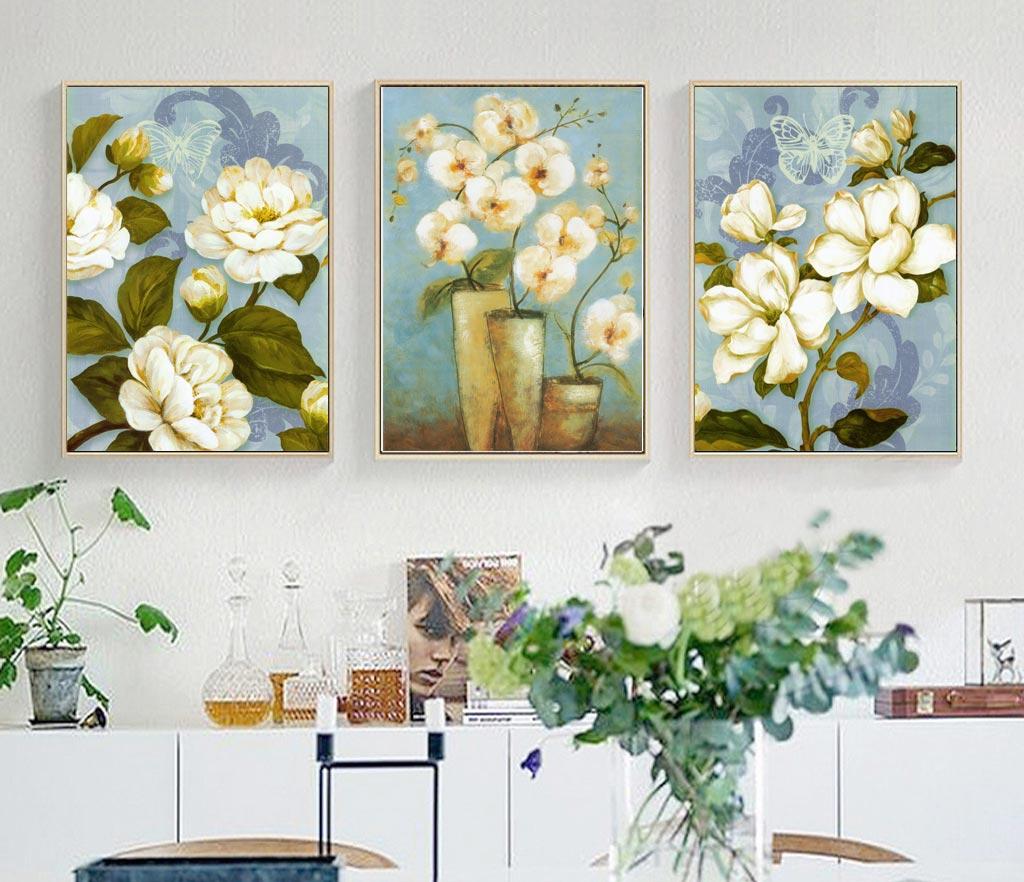 Tranh bộ 3 lọ hoa đẹp