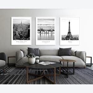Tranh bộ 3 bức phong cảnh thành phố