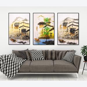Tranh bộ 3 bức trừu tượng cảnh thành phố