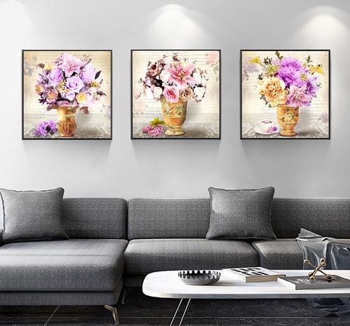 Tranh bộ 3 bức lọ hoa treo tường