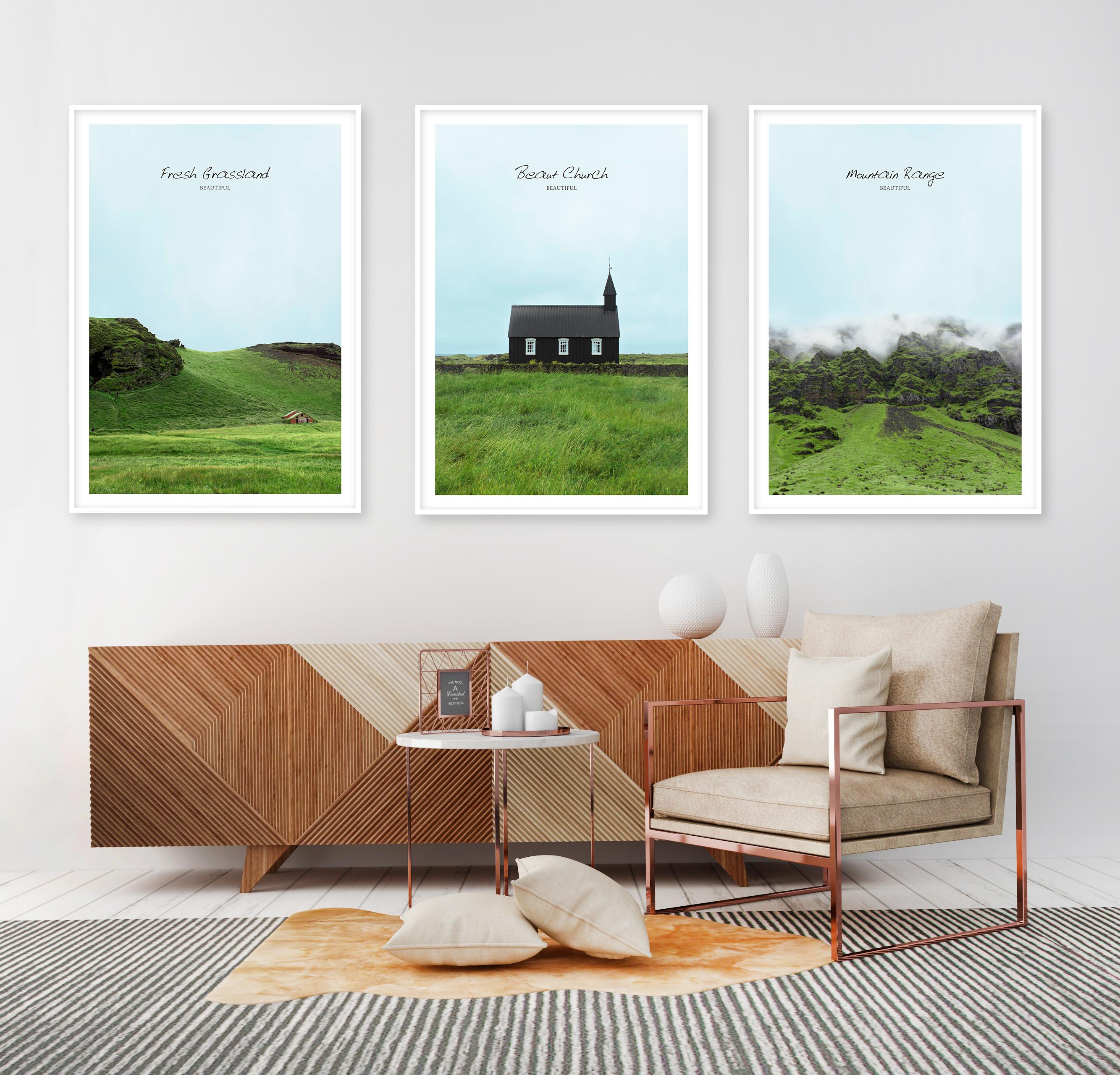 Tranh bộ 3 bức ngôi nhà và thảm cỏ xanh
