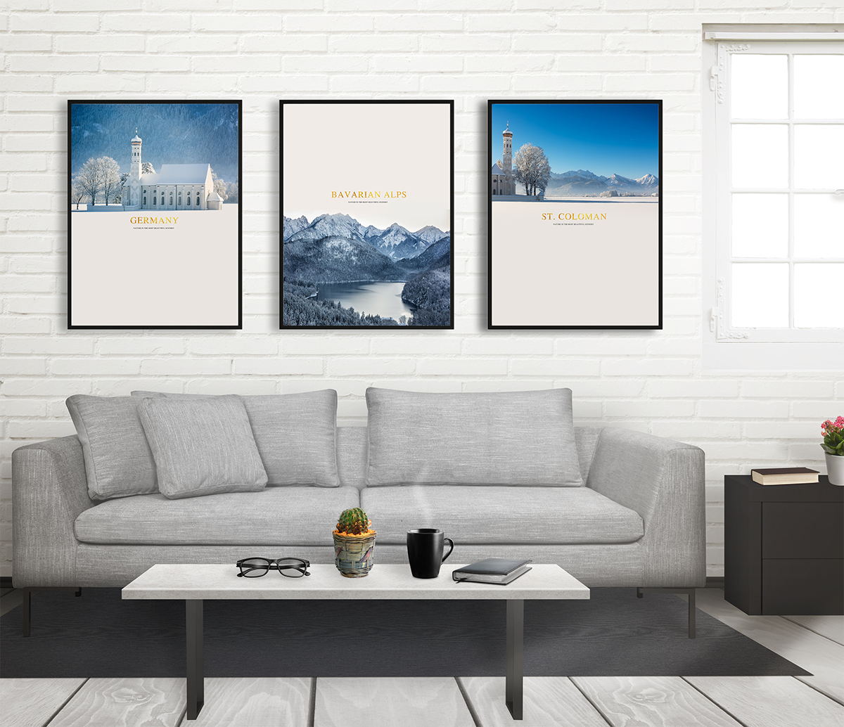 Bộ tranh 3 bức tháp và cảnh vật