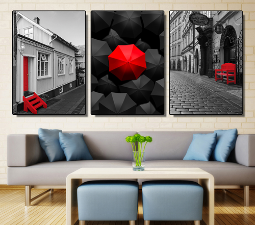Tranh bộ 3 bức chiếc ô và thành phố
