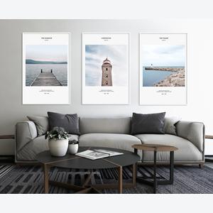 Tranh bộ 3 bức phong cảnh biển và cây cầu