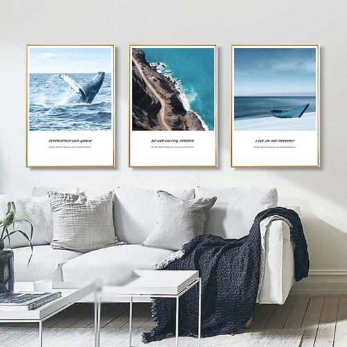 Tranh bộ 3 bức cảnh biển chiều hôm