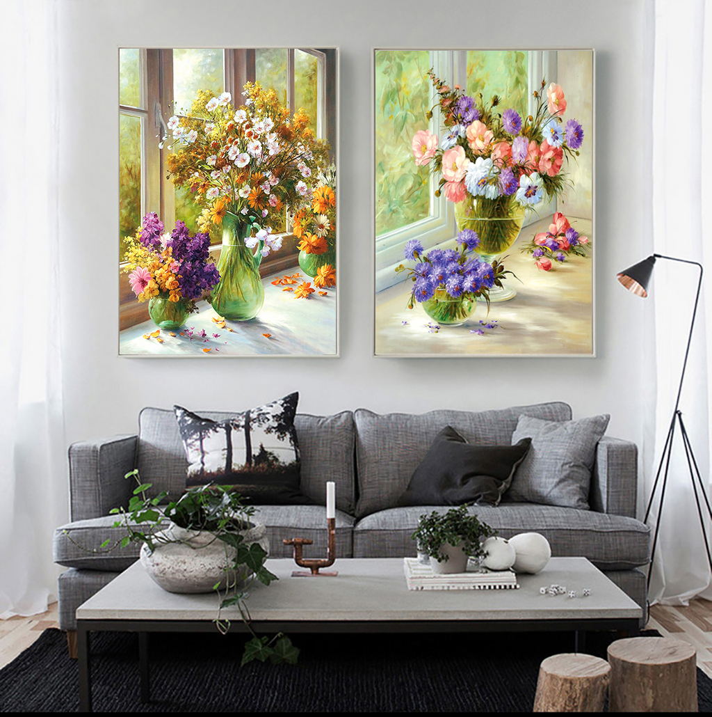 Tranh bộ 2 bức lọ hoa nghệ thuật sắc màu