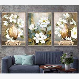 Tranh bộ 3 bức lọ hoa trắng