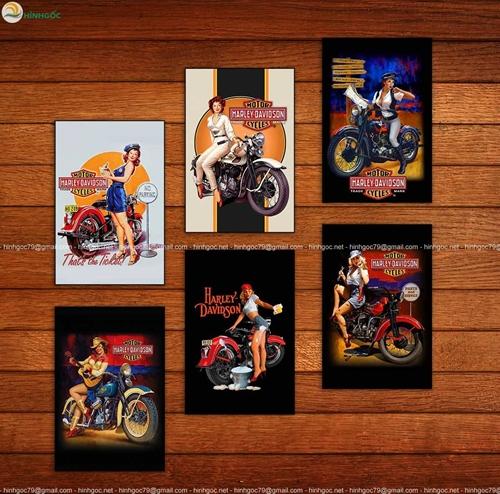 Tranh thời trang, bộ 6 bức, cô gái đi xe máy
