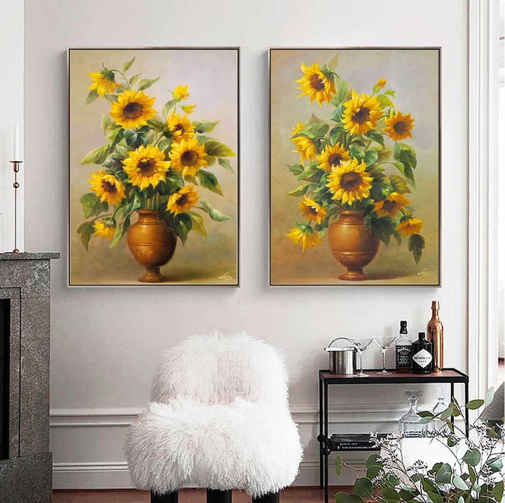 Tranh bộ 2 bức lọ hoa hướng dương