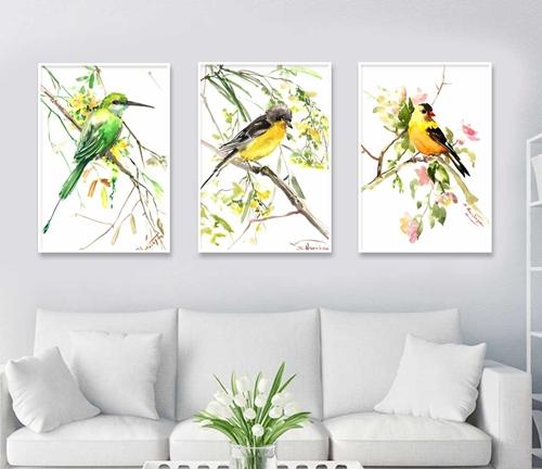 Tranh bộ 3 bức chú chim vui bên cành hoa nở