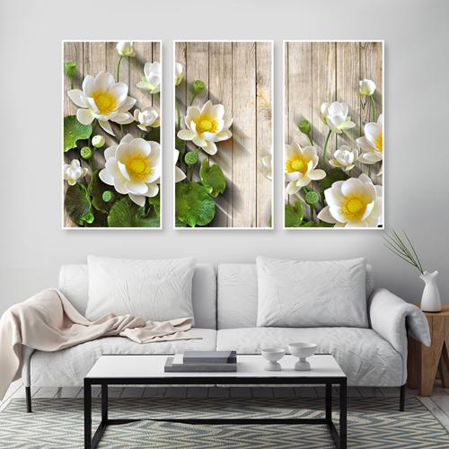 Tranh bộ 3 bức hoa sen trắng đang nở