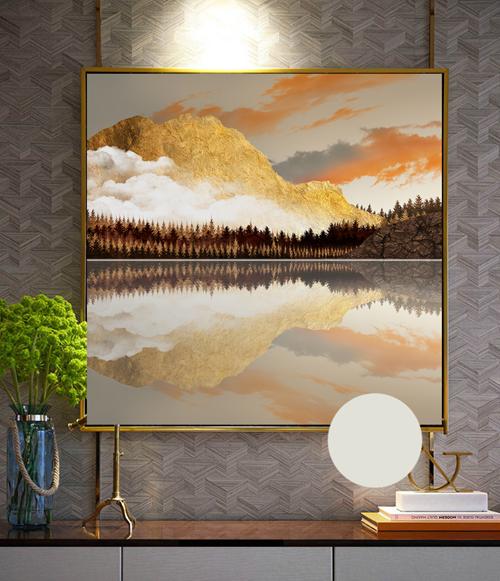 Tranh sơn thủy hình ảnh núi vàng